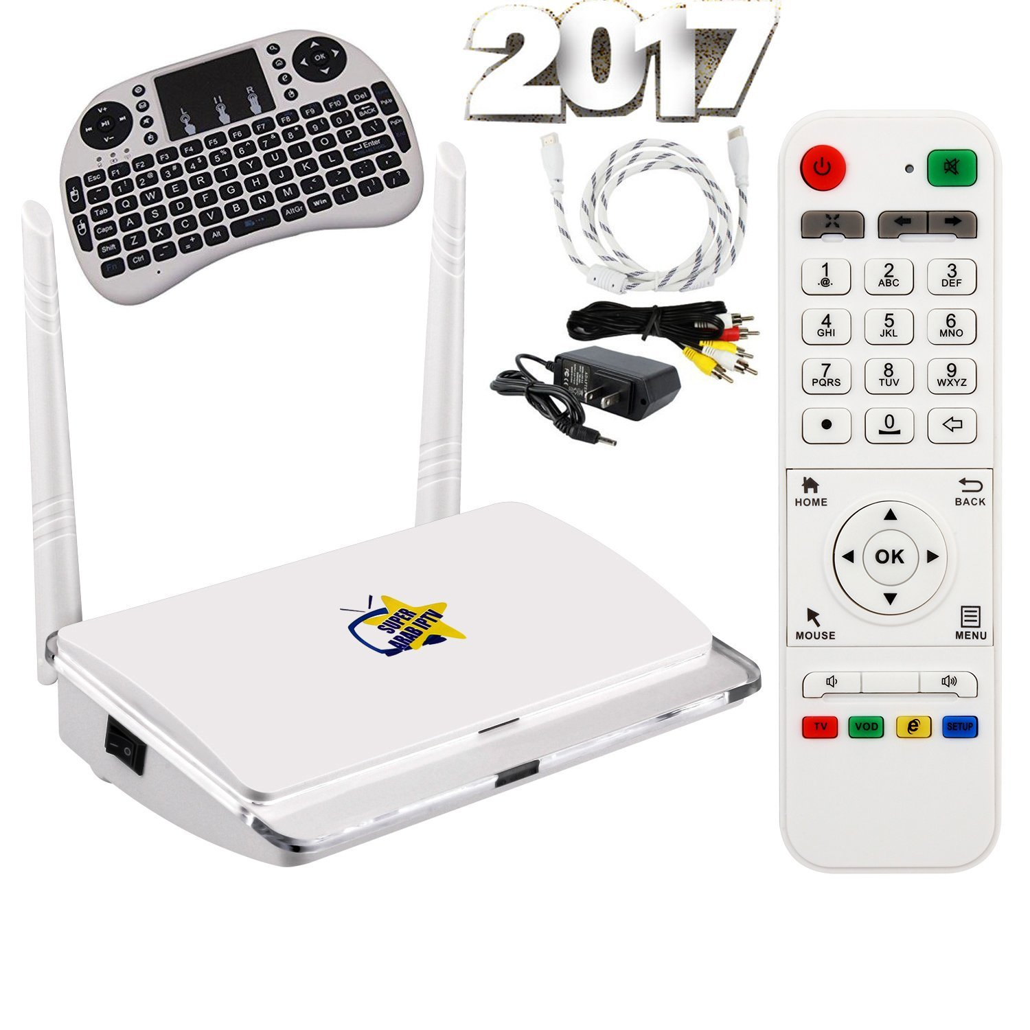 SUPER ARAB IPTV 2017 + 1500 channels and movies with 2 years complimentary service + Mini Wireless Keyboard