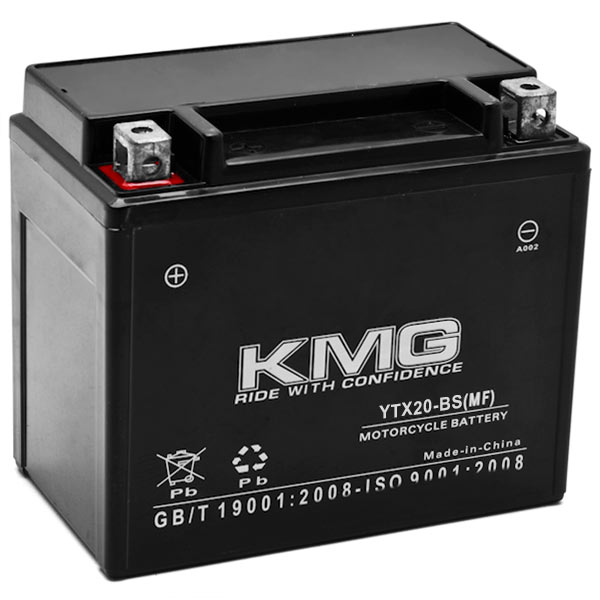 KMG YTX20-BS Battery For Harley-Davidson 1340 FXST, FLST Series (Softail) 1984 - 1990 Sealed Maintenace Free 12V Battery High Performance SMF Replacement Maintenance Free Powersport Motorcycle KMG
