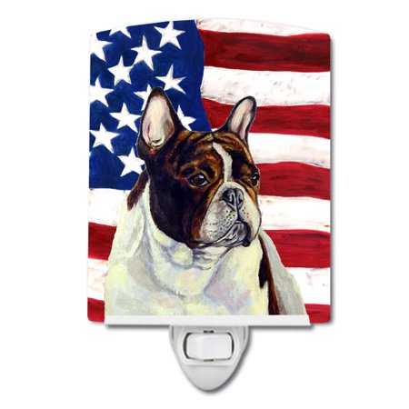 USA American Flag with French Bulldog Ceramic Night Light