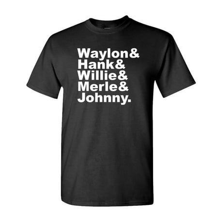 Johnny Cupcakes Halloween Shirts (WAYLON & WILLIE & Merle & Hank & Johnny - Unisex Cotton T-Shirt Tee Shirt, Black,)
