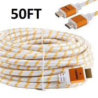 CableVantage 50FT 50 FT HDMI Cable, HDMI Cable HDMI-50FT Gold-Plated High Speed HDMI Cable [ Support 3D | Ethernet | Audio Return] For PS4 Xbox One PC HDTV White Mesh Braided Nylon Cord, Gold Tip