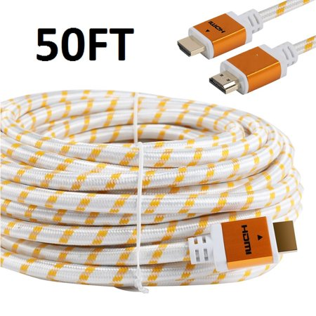 50ft Gold Plated (CableVantage 50FT 50 FT HDMI Cable, HDMI Cable HDMI-50FT Gold-Plated High Speed HDMI Cable [ Support 3D | Ethernet | Audio Return] For PS4 Xbox One PC HDTV White Mesh Braided Nylon Cord, Gold Tip)
