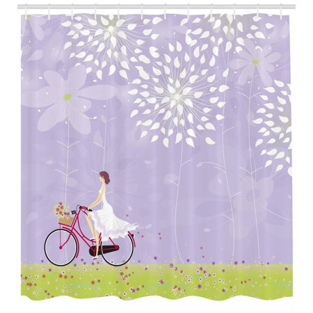 Cartoon Shower Curtain, Girl Riding Bike Windy Weather in the Garden with Grass Artwork, Fabric Bathroom Set with Hooks, Lavander Apple Green White, by - Girl In The Shower