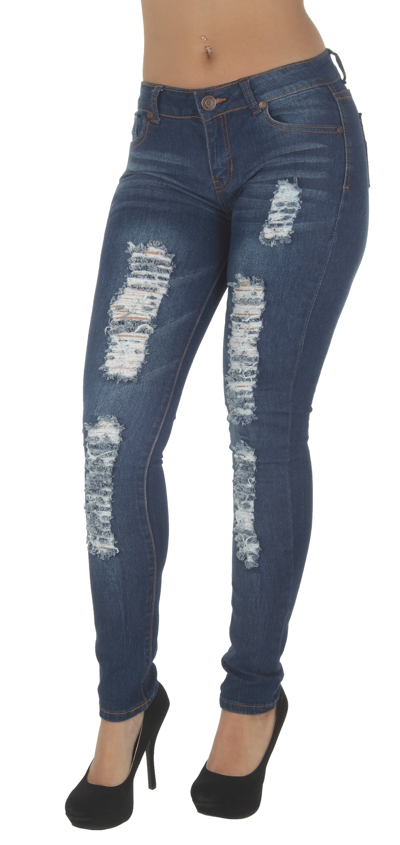 CH250R-P - Plus Size, Classic, Destroyed, Ripped Mid Waist, Skinny Jeans