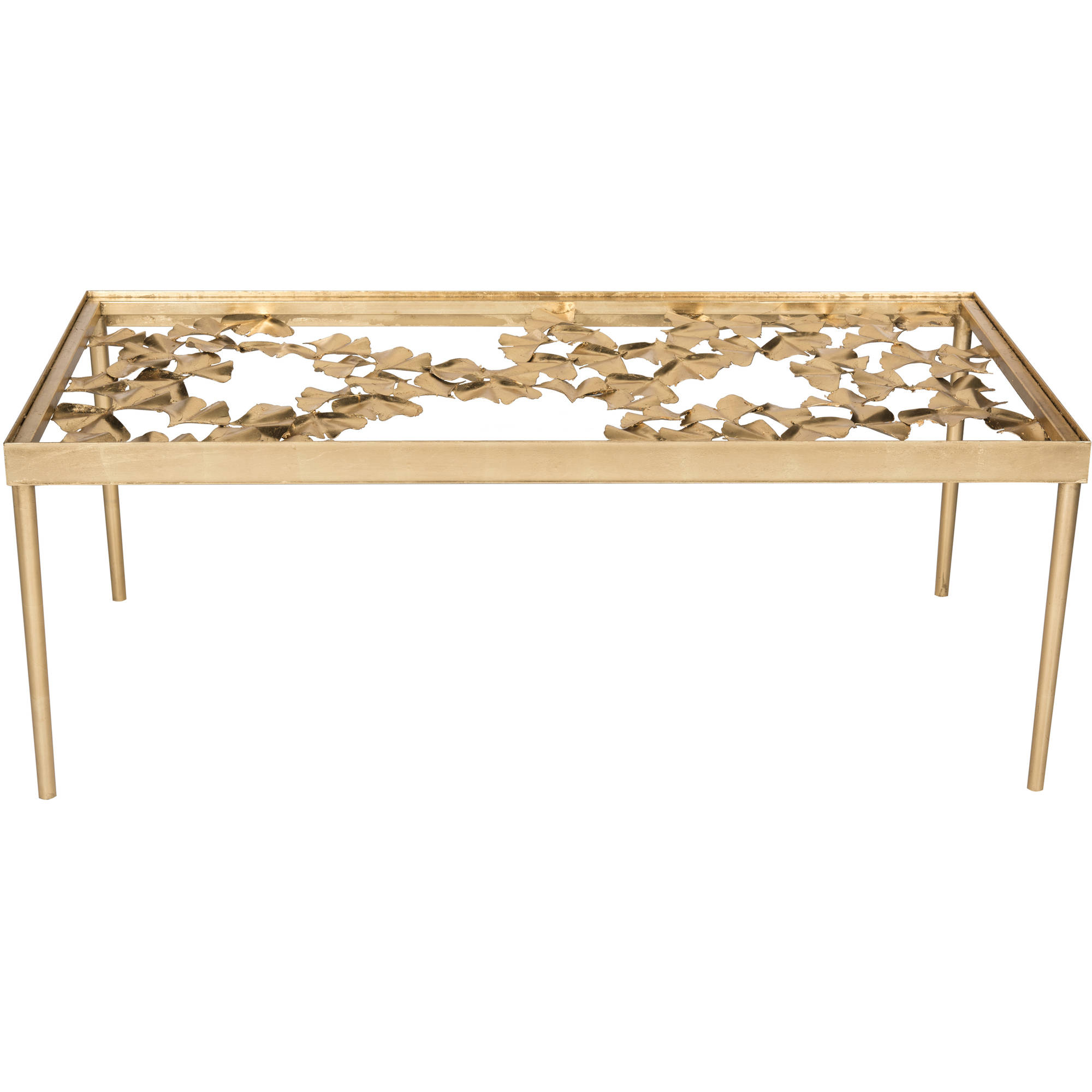 "Safavieh Otto 48"" Width Ginkgo Leaf Coffee Table Antique Gold"