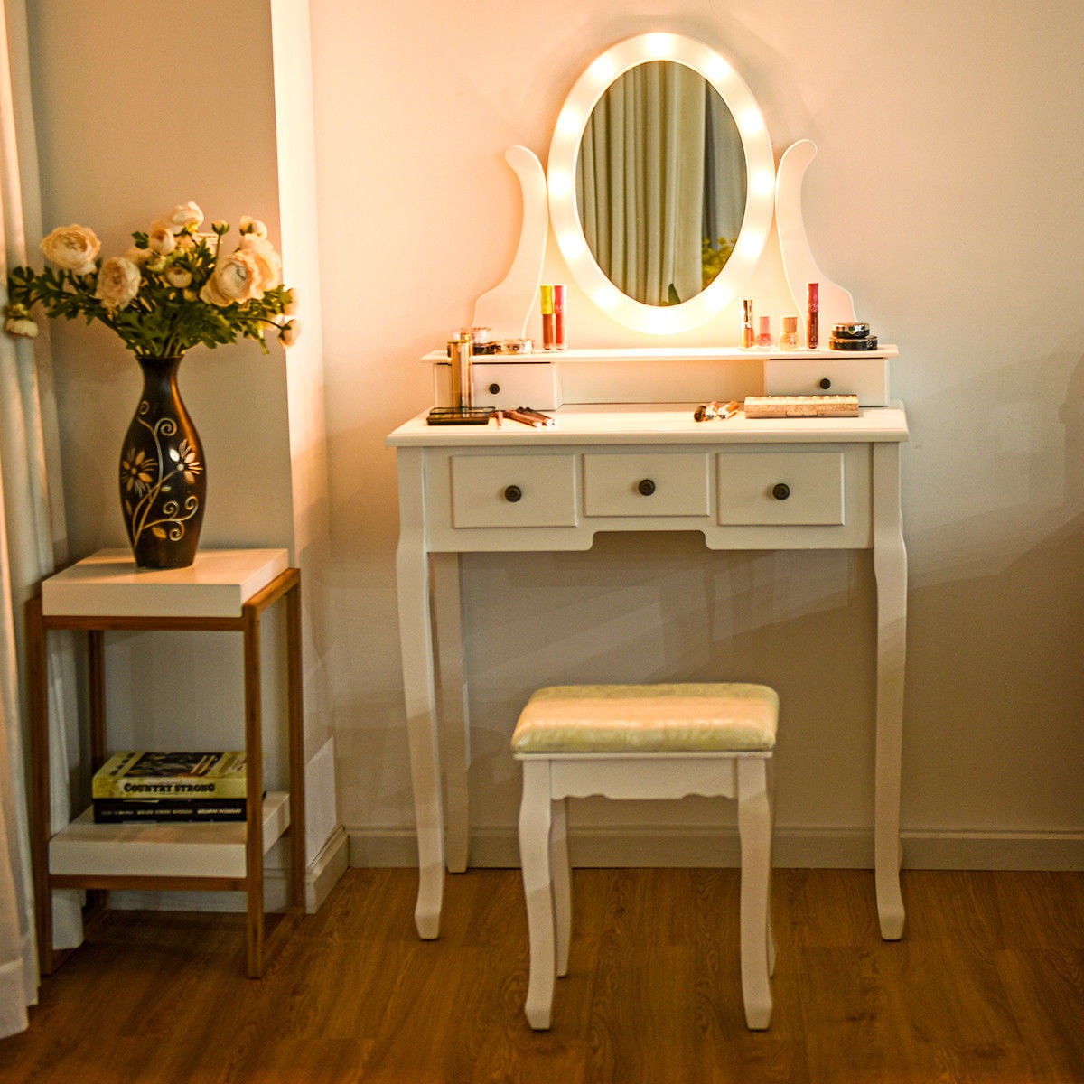Gymax 5 Drawers Vanity Makeup Dressing Table Stool Set Lighted Mirror W/12 LED Bulbs - Walmart ...