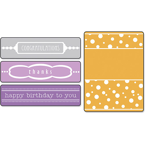 Sizzix Textured Impressions Embossing Folders, Birthday/Congrats/Thanks With Borders