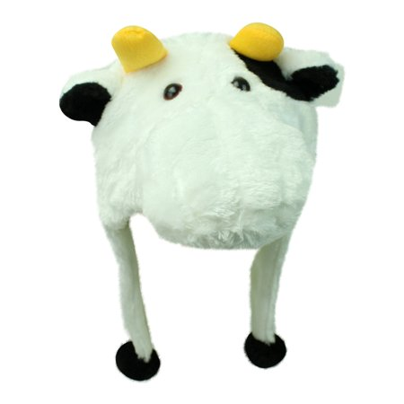 White Cow Face Plush Animal Head Winter Novelty Crazy Hat](Crazy Funny Hats)