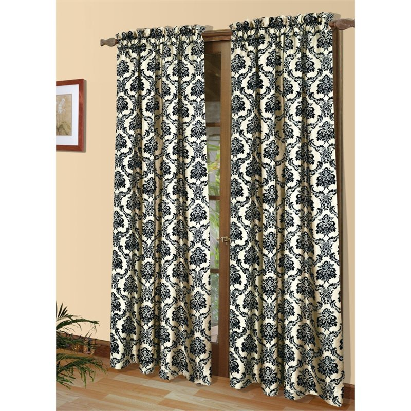 "Commonwealth Sumatra 84"" Pole Top Curtain Panel in Black and Ivory"