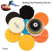 "11-Pack 4"" Sponge Polishing waxing Buffing Pads Kit Compound Polishing with Drill Adapter For Auto Car"