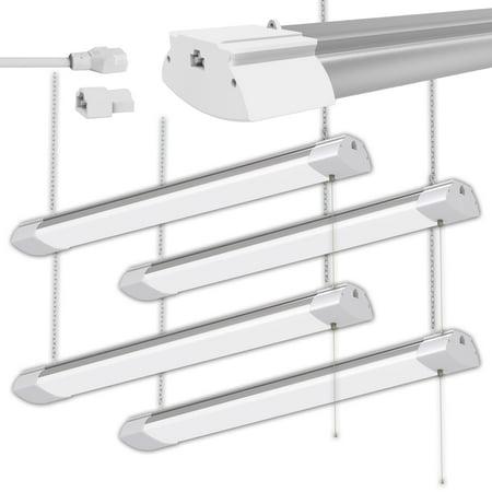 4 Pack 48W 4ft LED Shop Light Bright White Garage Workbench Ceiling Utility Linkable Light Lamp ()