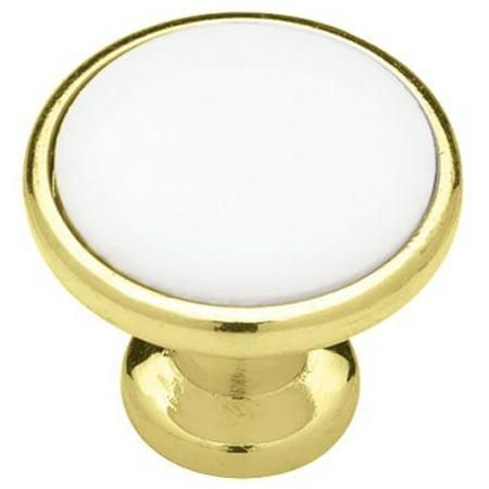 "(5 Pack) Liberty Brass Plated Knob - White Ceramic Center 1-1/4"""