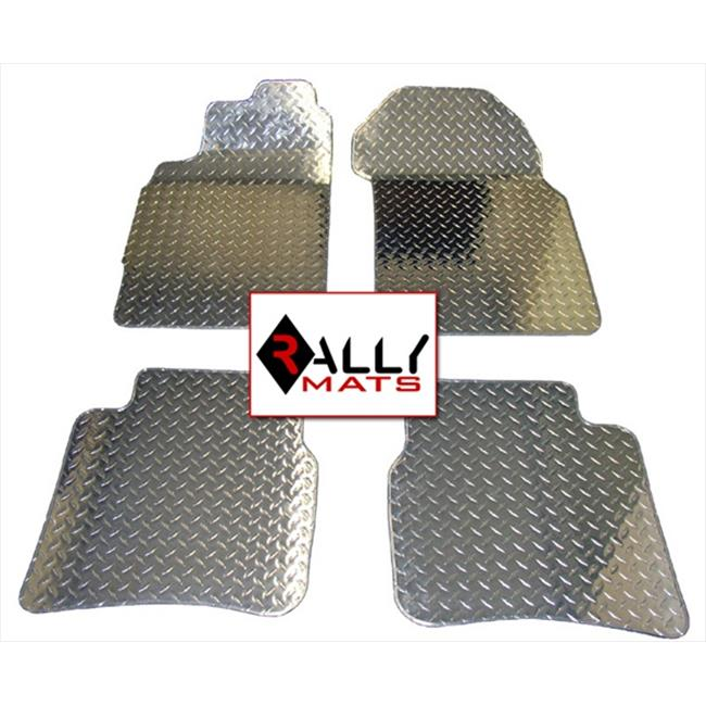 Rallymats 02-04 Mini Cooper Diamond Plate Aluminum Metal Floor Mats 4PC Set