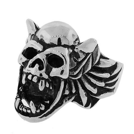 Stainless Steel Silver-Tone Gothic Skull Harpy Statement Mens Ring Band - Size 8