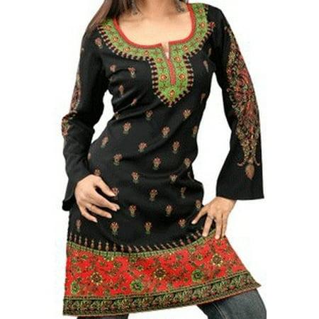 Beautiful Women Tops, Indian Kurti Tunic, Kurta Sale :  PRINCESS | Black | Christmas Theme - Sale Back