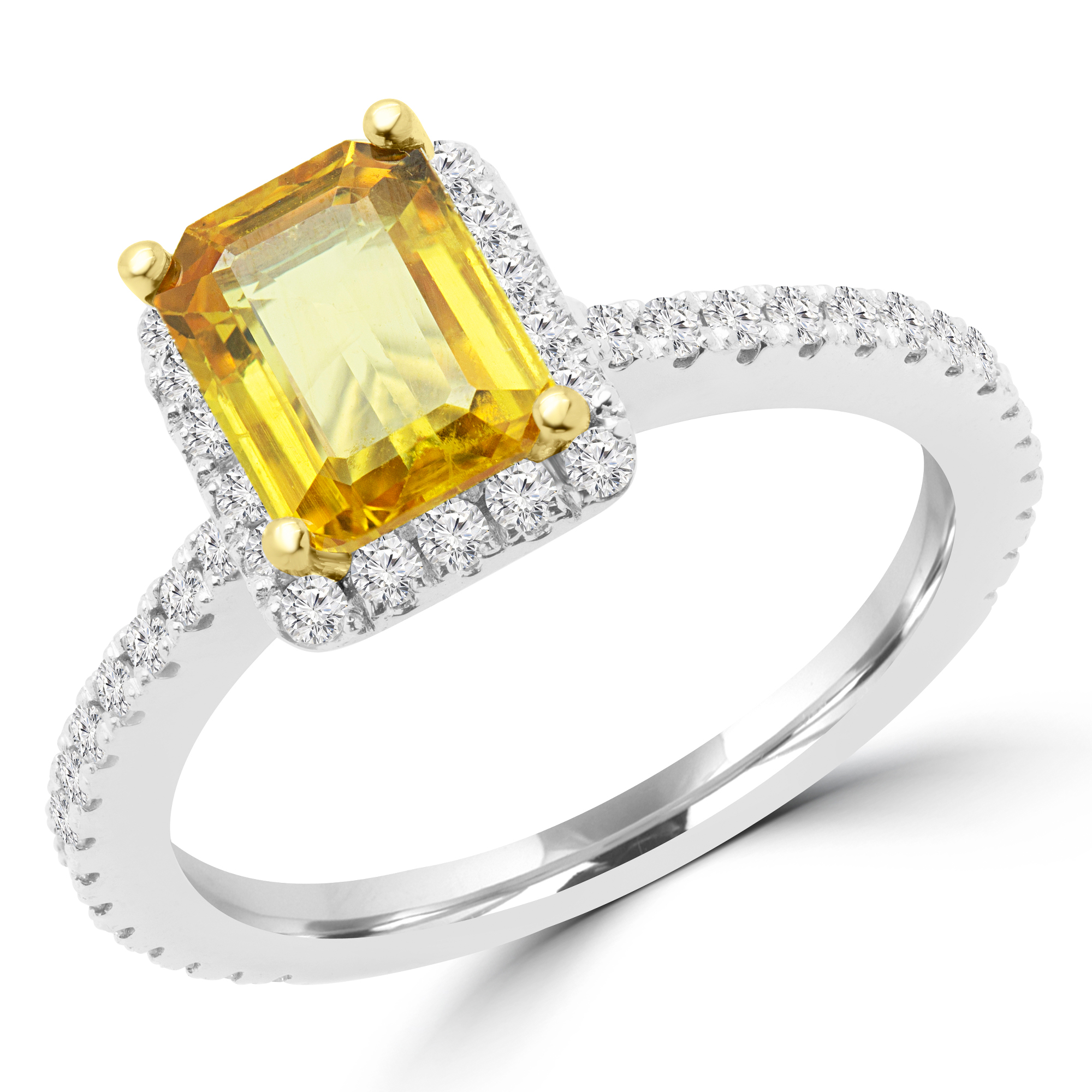 2 1/2 CTW Emerald Yellow Sapphire Halo Cocktail Ring in 14K White Gold (MD170170) - image 2 de 2
