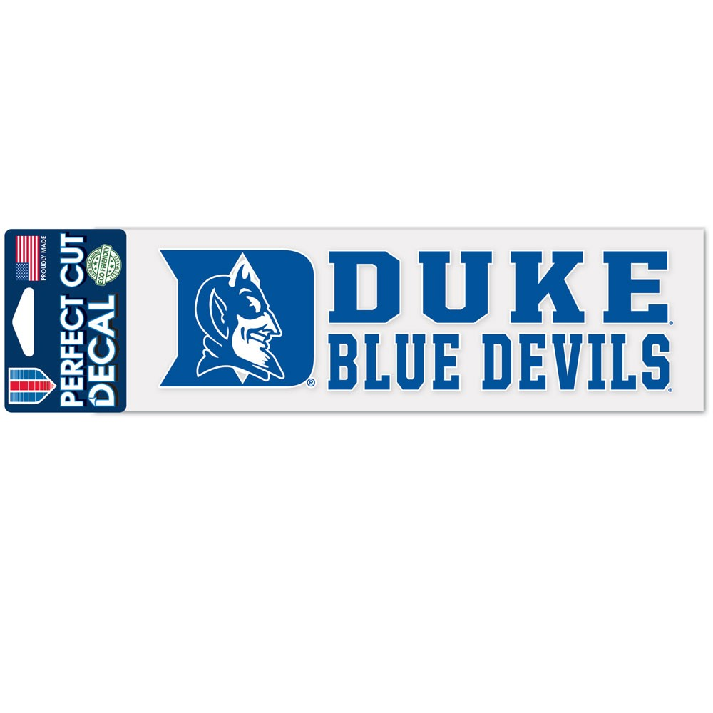 Duke Blue Devils Official NCAA 3 inch  x 10 inch  Perfect Cut Car Decal by WinCraft