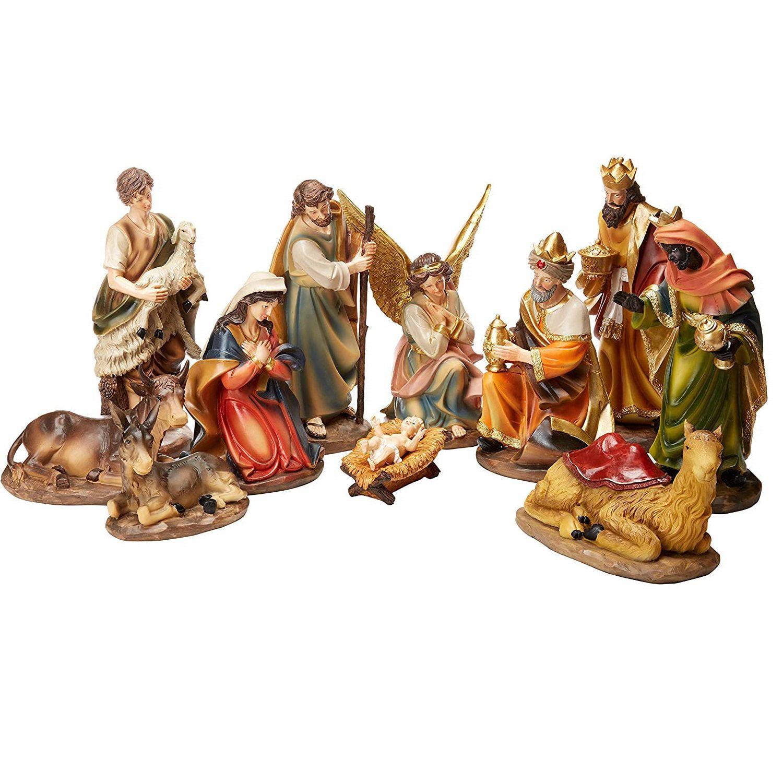 Avalon Gallery Christmas Nativity 12-Piece Stable Scene Set