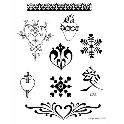 Earth Henna Earth Jagua Stencil Transfer Pack-Hearts & Valentines