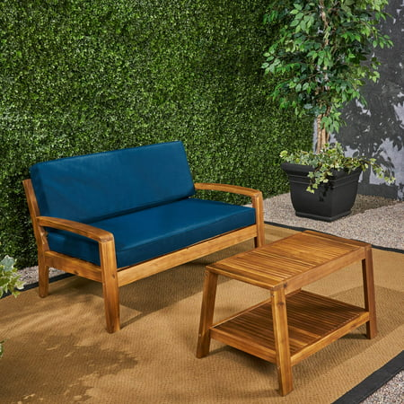 Peachy Wilcox Outdoor Acacia Wood Loveseat And Coffee Table Set With Cushions Teak Dark Teal Evergreenethics Interior Chair Design Evergreenethicsorg