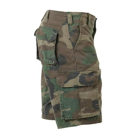 Baggy Woodland Camo Vintage Paratrooper Cargo Shorts