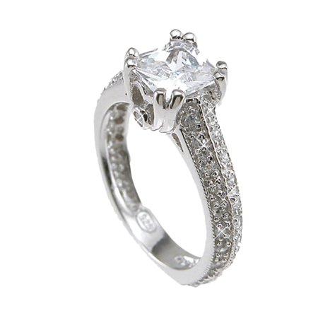 Antique Cz Engagement Rings (925 Sterling Silver Rhodium Finish CZ Princess Antique Style Engagement Ring 1.5 Carat)