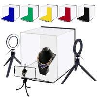 Portable Square Folding Photo Box Tent LED Light Table Top Photography Studio 6 Backdrops Color