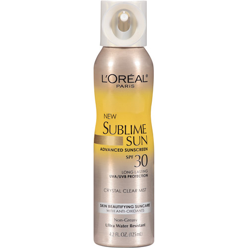 L'Oreal Paris Sublime Sun Advanced Sunscreen Crystal Clear Mist Spray SPF 30, 4.2 oz