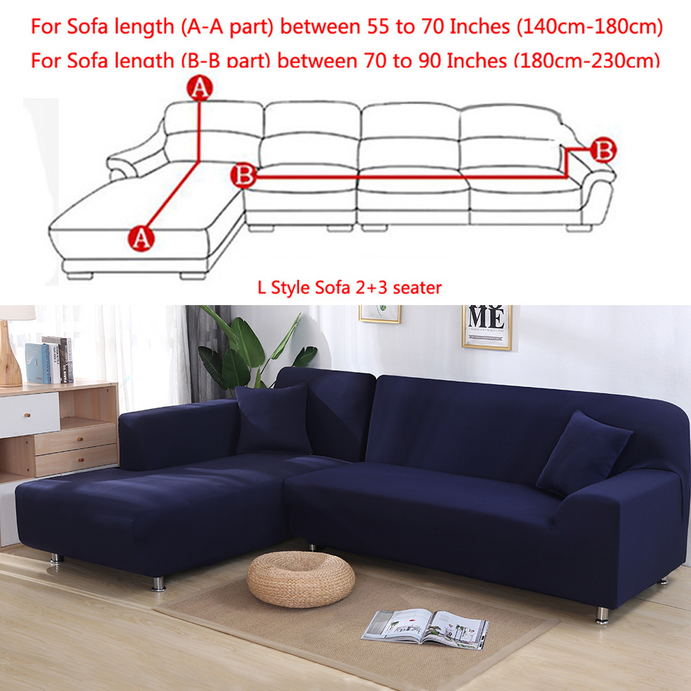 All Cover Sectional Sofa L Shape 2pcs Slipcover Elastic Washable