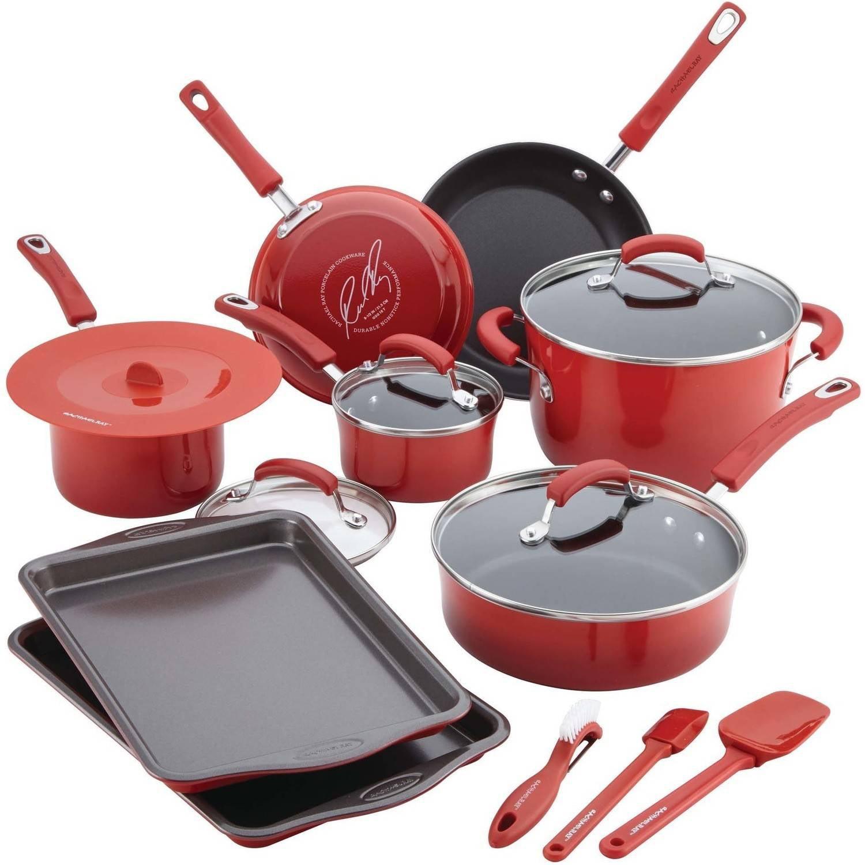 Rachael Ray 16-Piece Hard Porcelain Enamel Nonstick Cookware Set ...