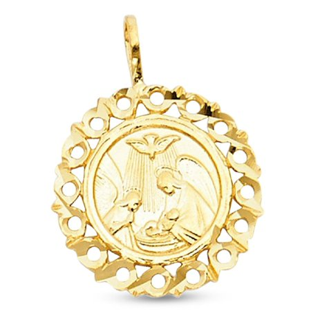 Holy Baptism Medallion Charm Solid 14k Yellow Gold Round Christian Pendant Genuine 26 x 26 mm (Christian Charms)
