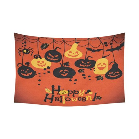 GCKG Cheerful Pumpkins Jack O Lantern Happy Halloween Tapestry Wall Hanging Orange Doodle Wall Decor Tapestry 80x60 Inches - image 2 de 2