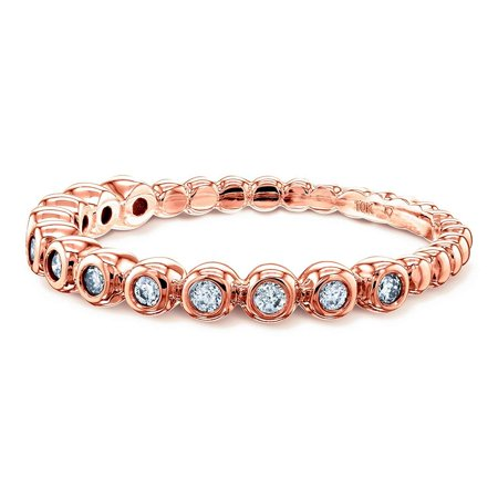 Ribbed Bezel Diamond Fashion Band (1/8 Carat CTW) in 10k Rose Gold, 5