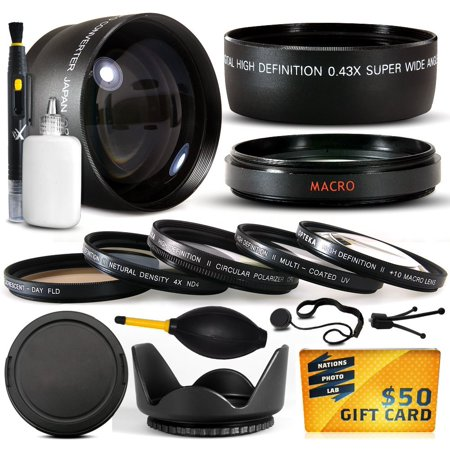 Nikon D40 Body - 10 Piece Ultimate Lens Package For the Nikon D100 D200 D300 D300S D700 D7000 D7100 D3000 D3100 D3200 D5000 D5100 D5200 D5300 D40 D40X D50 D60 D70 D90 D80 Includes .43x + 2.2x Lens + $50 Gift Card