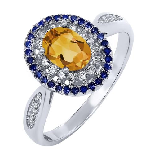 1.20 Ct Oval Yellow Citrine 925 Sterling Silver Ring