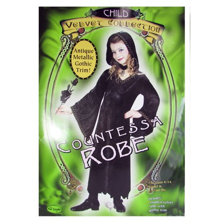 Fun World Girl Countessa Robe Velvet Gothic Halloween Costume, Black, - Fun Halloween Costumes For Girls