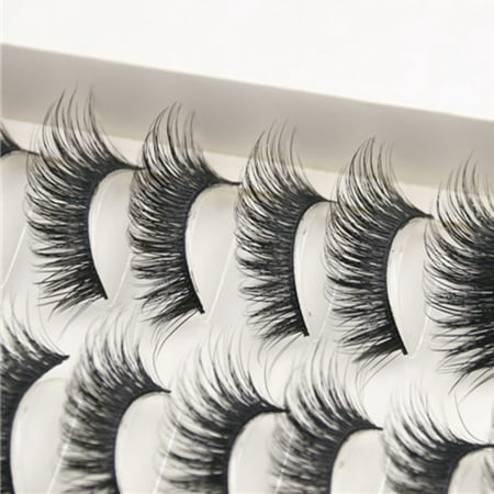 Outtop 10 Pairs Thick Long Cross Party False Eyelashes Black Band Fake Eye Lashes](White False Eyelashes)