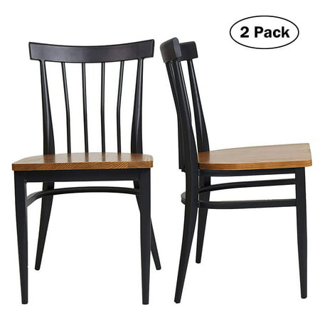 KARMAS PRODUCT Set of 2 Dining Side Chairs - Natural Wood Seat and Sturdy Iron Frame Simple Kitchen Restaurant Chairs for Dining Room Cafe Bistro, Ergonomic Design,Comb Back ()