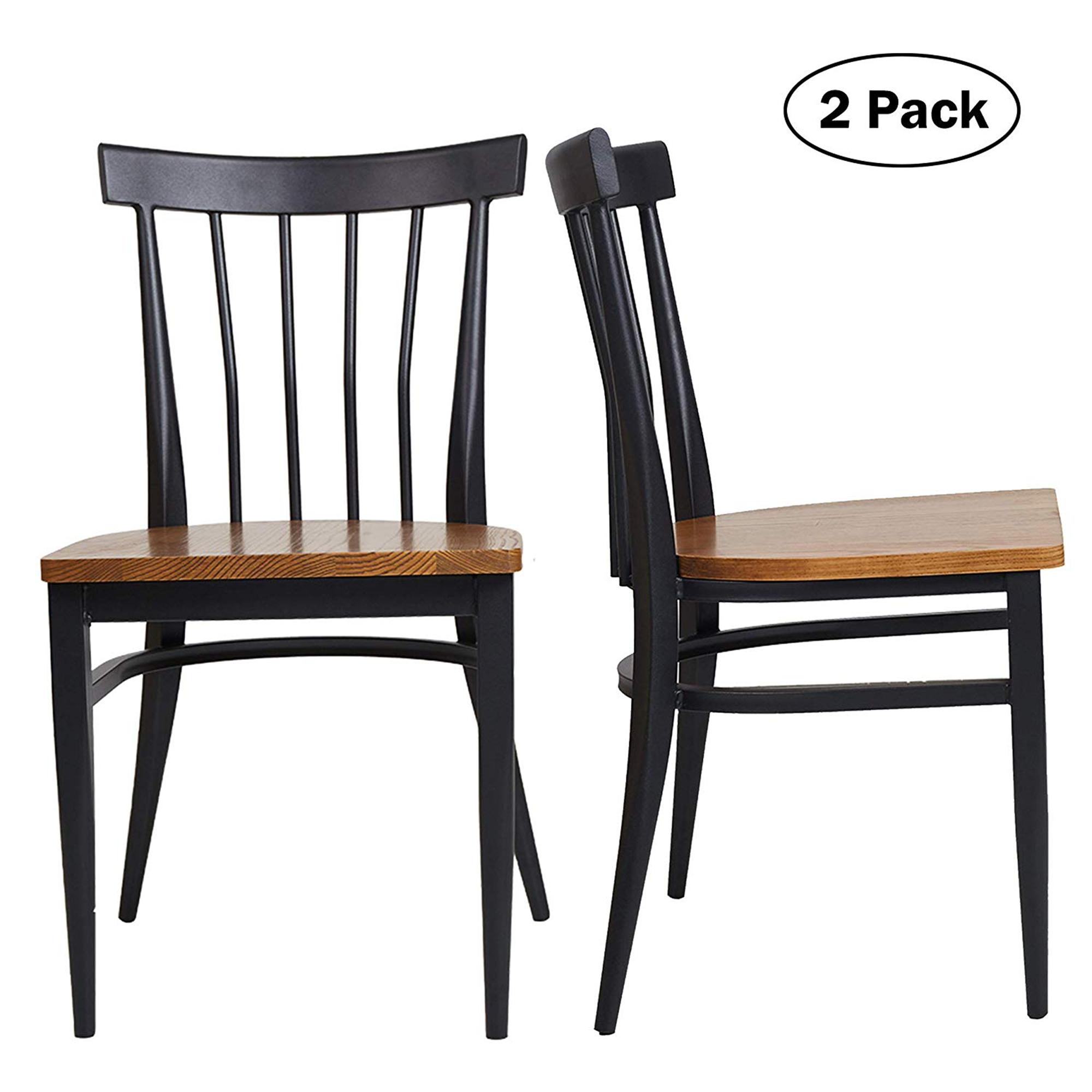 KARMAS PRODUCT Set of 2 Dining Side Chairs - Natural Wood Seat and Sturdy Iron Frame Simple Kitchen Restaurant Chairs for Dining Room Cafe Bistro, Ergonomic Design,Comb Back