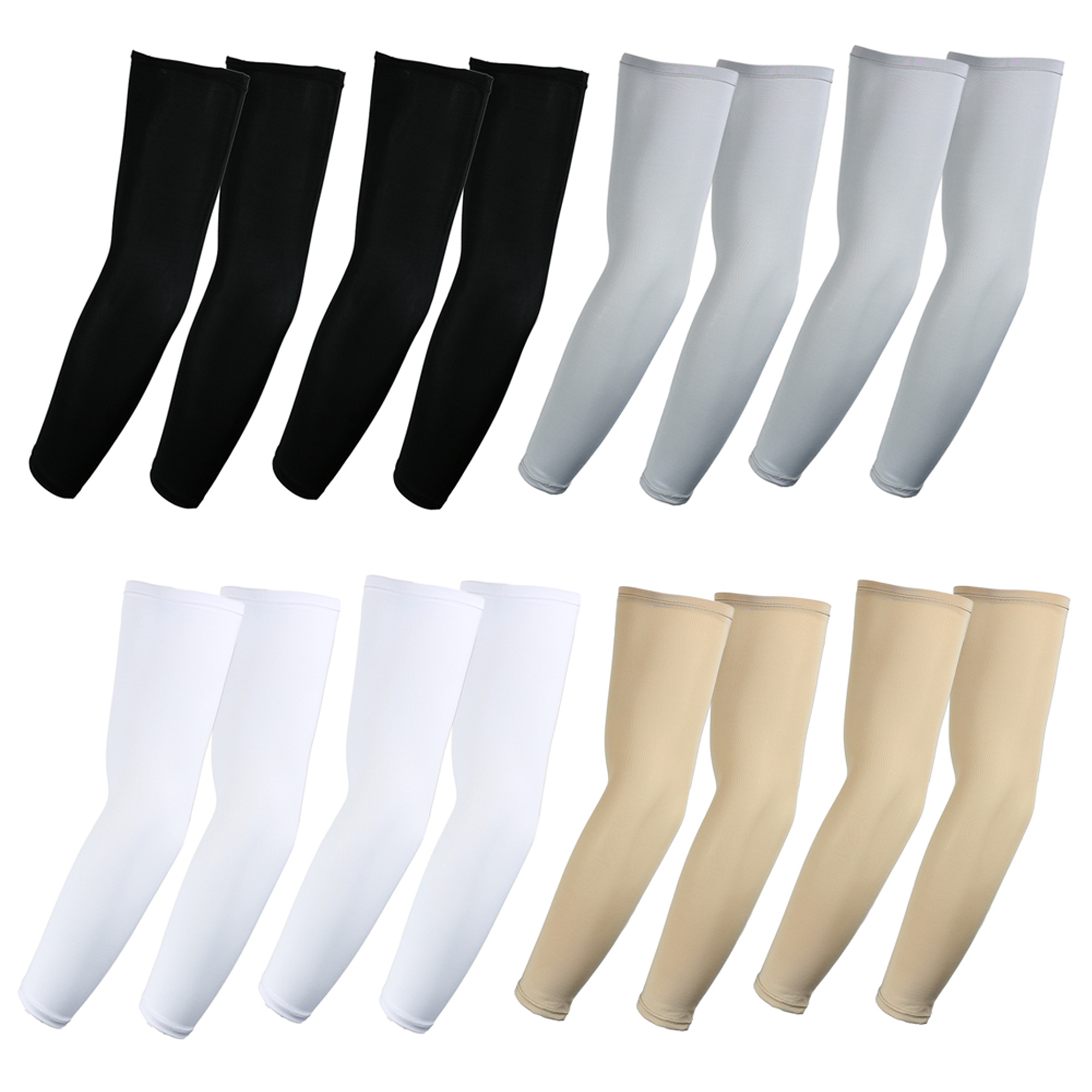 The Elixir Golf UV Protective Compression Arm Sleeves 8 Pairs Bundle Pack for Hiking Cycling Golf and Outdoor Activities, 2 Pairs Eash White, Black, Gray, Beige