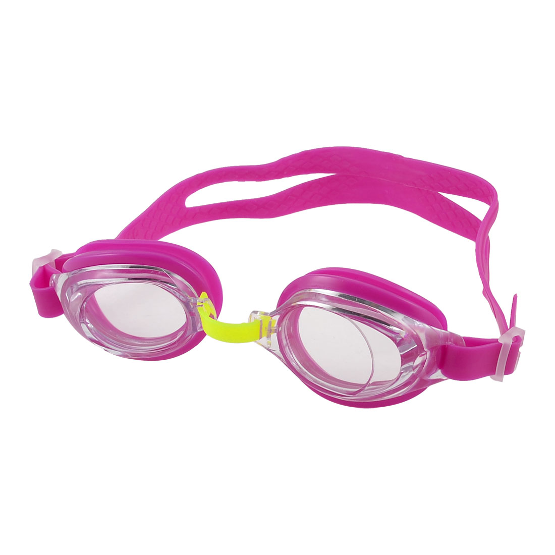Children Fuchsia Silicone Strap Clear Lens Swimming Goggles Swim Glasses Eyewear by