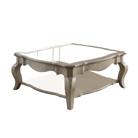 ACME Chelmsford Coffee Table, Antique Taupe & Clear Glass