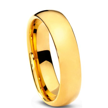 Tungsten Wedding Band Ring 5mm for Men Women Comfort Fit 18K Yellow Gold Plated Plated Domed Polished Lifetime Guarantee - image 1 de 5