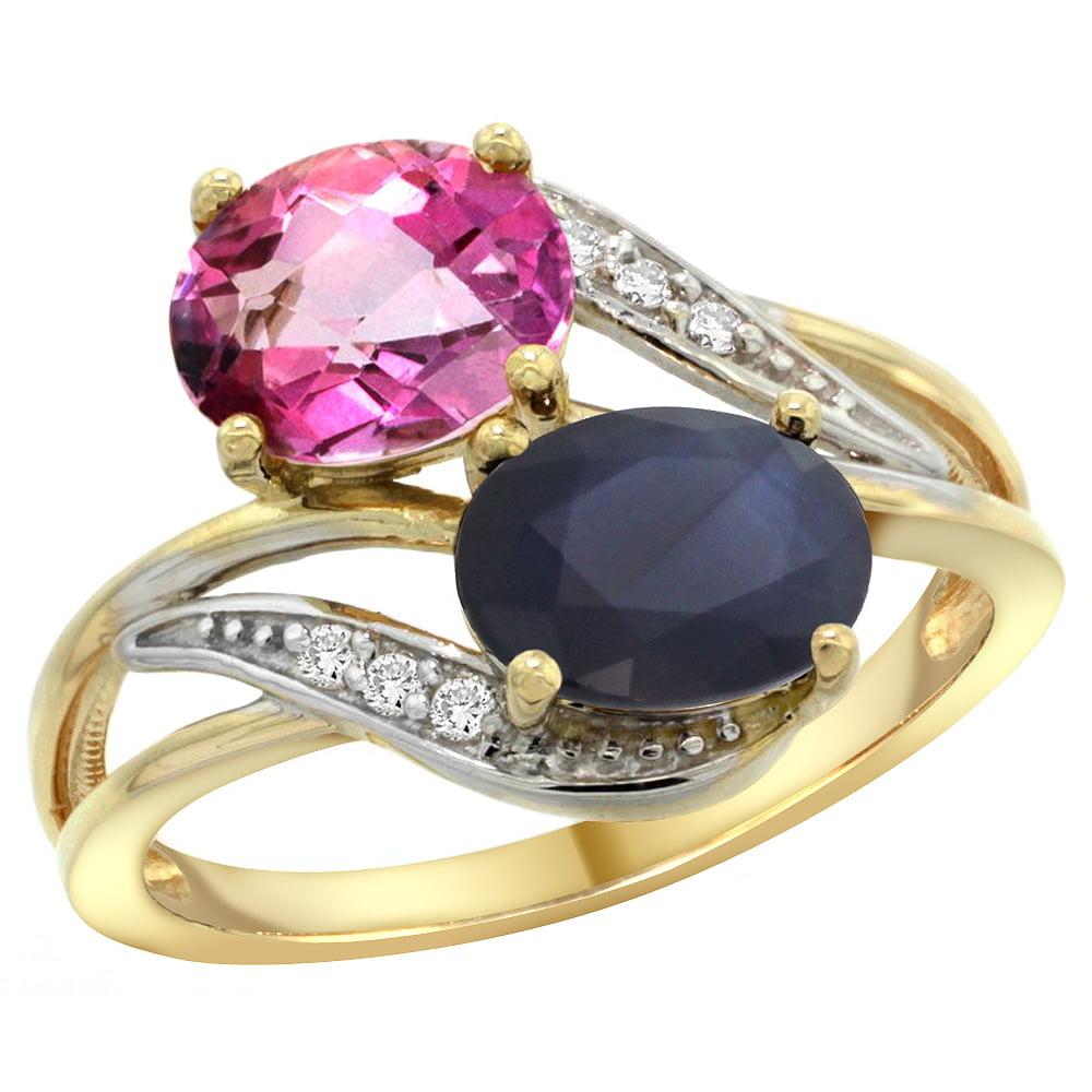 14K Yellow Gold Diamond Natural Pink Topaz & Australian Sapphire 2-stone Ring Oval 8x6mm, size 6 by Gabriella Gold