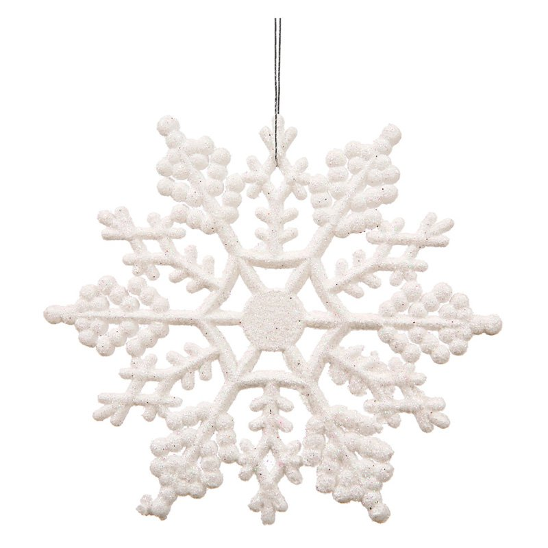 "Vickerman 8"" Glitter Snowflake Christmas Ornaments, Pack of 12"