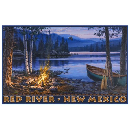 Mexican Bush - Red River New Mexico Lake Canoe Fire Travel Art Print Poster by Darrell Bush (12