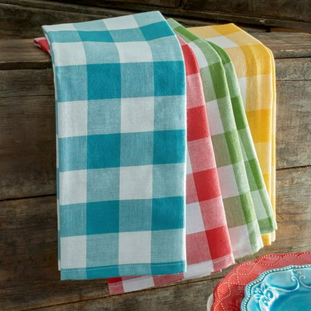 The Pioneer Woman Charming Check Kitchen Towels, Set of 4 (Dish Cloths And Towels Set)