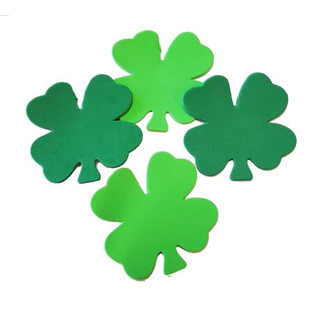 Small Assorted Color Creative Foam Cut-Outs - Assorted Green Four Leaf