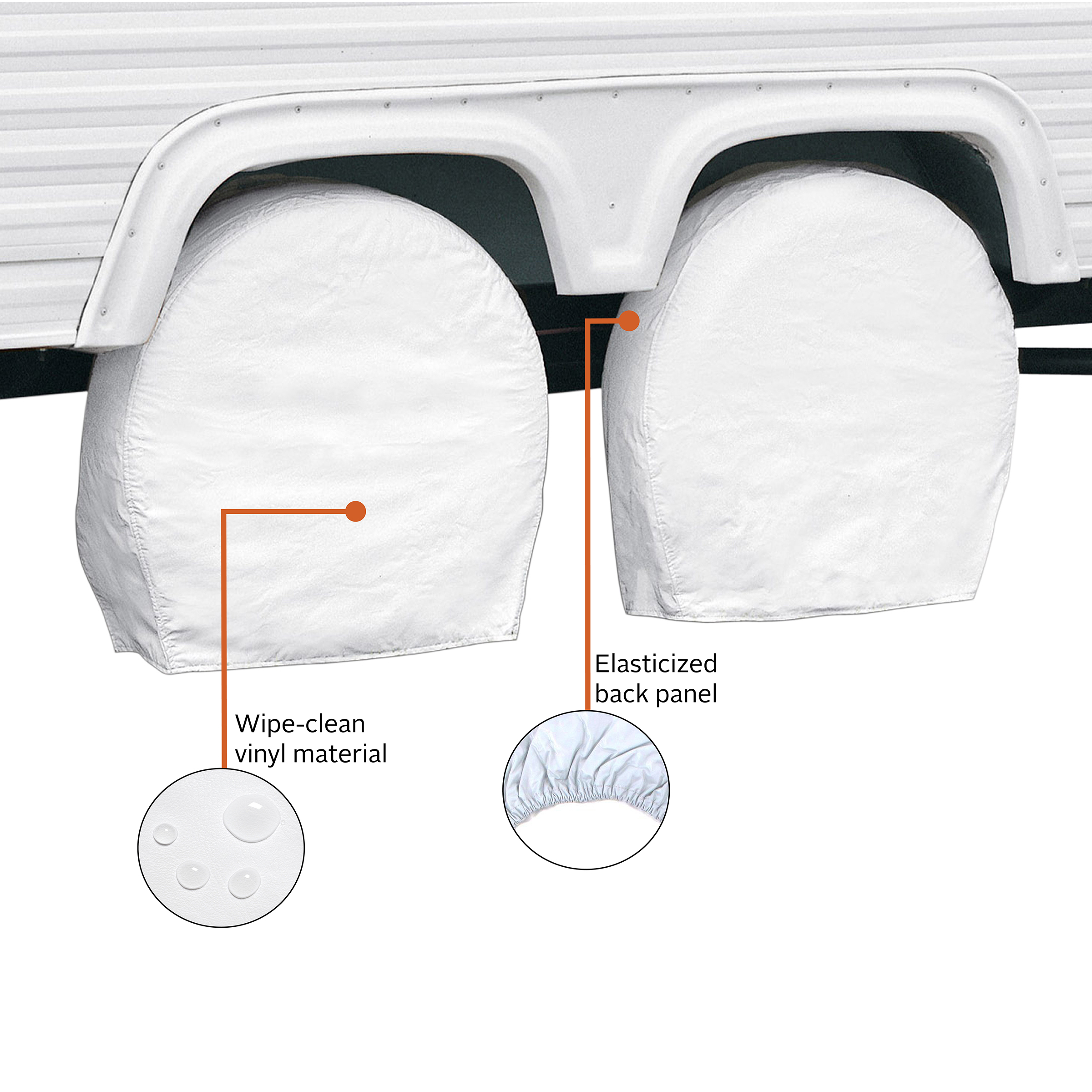 Tire-Guard Set Of 4 PREMIUM Arctic White Tire Covers Made From WATERPROOF Polyester /& Vinyl Use On RV CAR TRUCK TRAILER