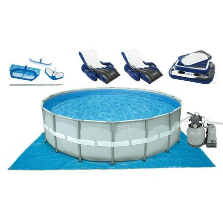 Intex 18 39 x 52 ultra frame swimming pool w sand pump saltwater system set for Intex 18 x 9 x 52 ultra frame swimming pool